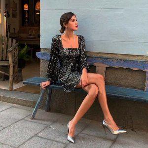 NWT Zara Size M Mini Cocktail Sequin Dress